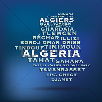 Algeria map made with name of cities