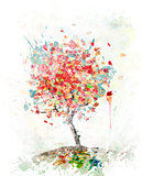 Watercolor Image Of  Autumn Tree