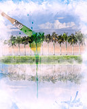 Watercolor Image Of  Landscape