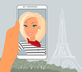 Blond woman in Paris
