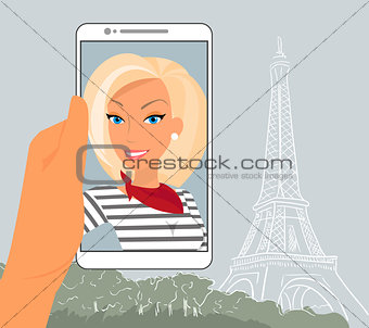 Blond woman in Paris