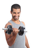 Arab happy man exercising lifting weights