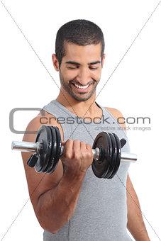 Arab happy man exercising lifting weights