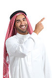 Arab saudi promoter man pointing at side