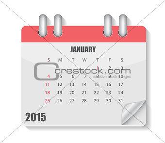 2015 Year Calendar. Month. Vector Illustration.