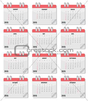 Calendar 2015 Year. Vector Illustration.
