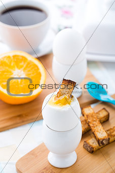 Breakfast with soft boiled eggs and toast soldiers