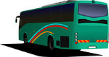 Green Tourist bus. Coach. Vector illustration for designers