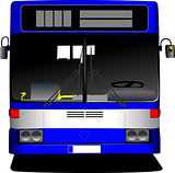 Blue City bus. Coach. Vector illustration for designers