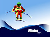 Jjumping  Ski runner  . Colored Vector illustration