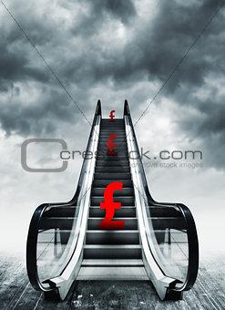 Pound symbol on escalators