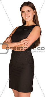 Smiling business woman, crossed arms