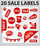 Labels Set 20 Sale. Vector Illustration