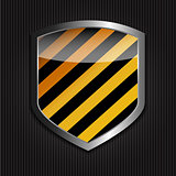 Protect  Shield on Black Background Vector Illustration