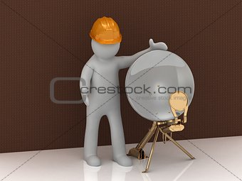 3d man in orange helmet and satellite dish