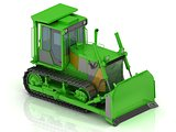 Crawler with a green hydraulic shovel