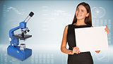 Businesswoman with blue chemistry microscope