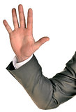 Businessman in suit shows five fingers