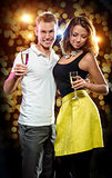 Couple with glasses of sparkling champagne