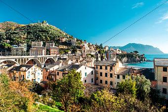 Beautiful nature landscape. View of Italian village