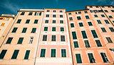 Typical houses in Italian village. Camogli, Genoa.