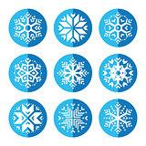 Snowflakes round blue icon set