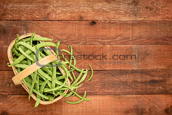 a basket of fresh green beans