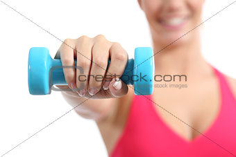 Fitness sportswoman lifting weights exercising aerobic