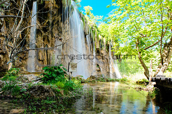 Beautiful waterfall in the Plitvice Lakes National Park