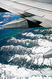 Alps, aerial view from window of airplane
