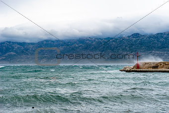 Sky with clouds and waves in the sea