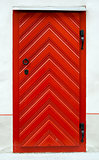 Red wooden door design