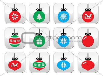 Christmas ball, Christmas bauble vector buttons set
