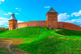 beautiful panorama of the walls of Novgorod Kremlin