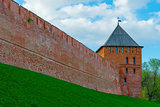 red brick wall of the Kremlin and the tower. Veliky Novgorod, Ru