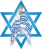 Star Of David Rabbi With Talit