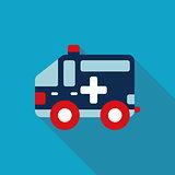 ambulance car Flat style Icon with long shadows