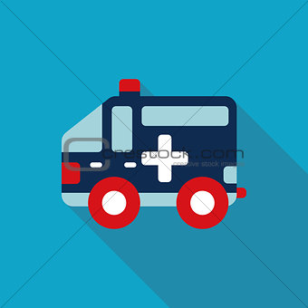 ambulance car Flat style Icon with long shadows