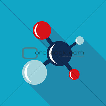 Molecule Flat style Icon with long shadows