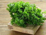 fresh green organic parsley on a wooden table