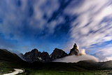 Dolomites, Pale di San Martino night landscape