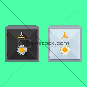 Flat vector illustration of safes