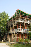 wooden bamboo scaffold in Lumbini, Nepal