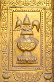 golden gilded asian temple door ornamental fragment
