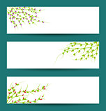 Floral graphic set, Floral banners for life events, vector collection