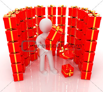 на белом фоне 3d man and red gifts with gold ribbon