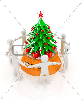 3D human around gift and Christmas tree