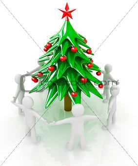 3D human around Christmas tree