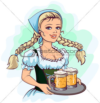 Oktoberfest girl waitress holds tray of beer