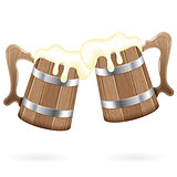 Two Wooden Mugs with Beer
